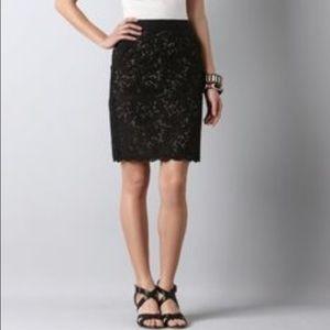 LOFT Black Eyelet Skirt