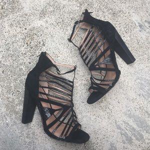 Charles David black snakeprint strappy heels