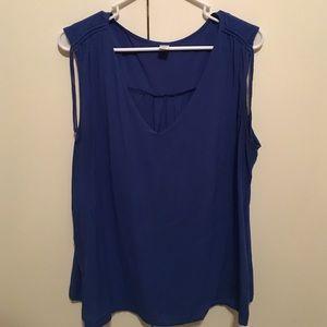 Ladies Blue V-Neck Sleeveless Blouse