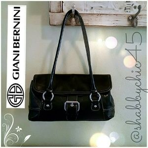 Giani Bernini Handbags - Giani Bernini Medium Black Leather Satchel Handbag