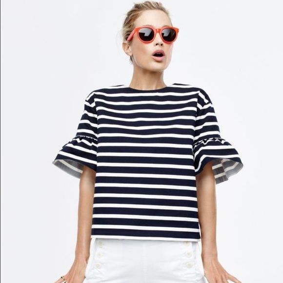J. Crew Tops - Jcrew ruffle stripe top