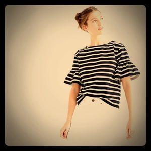 Jcrew ruffle stripe top