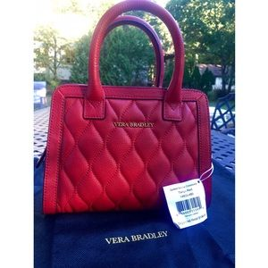 VERA BRADLEY red quilted leather crossbody satchel