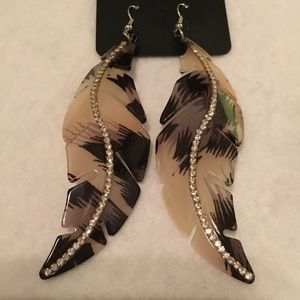 "Boutique Jewelry - NEW! Feather Acrylic and Crystal Earrings 4"" long"