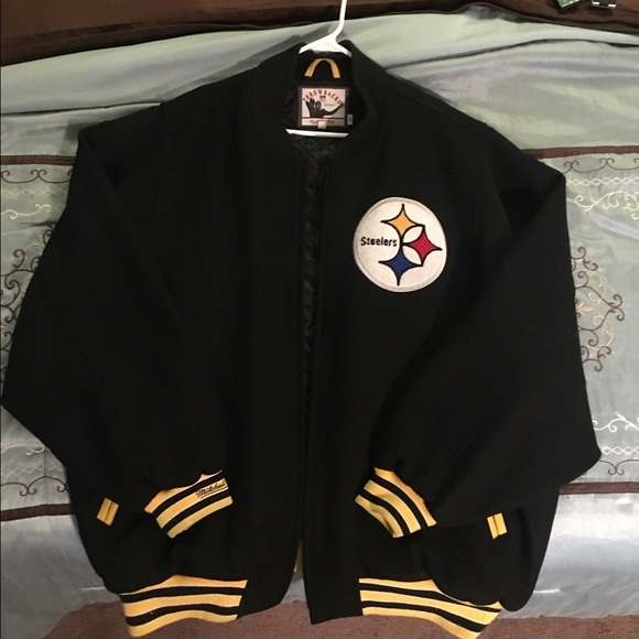 wholesale dealer 3832d 35318 Mitchell & Ness Wool Pittsburgh Steelers jacket