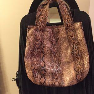 Faux leather pink snake skin shoulder bag