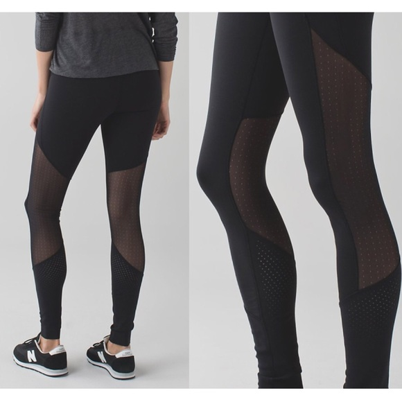 5d01e87eb lululemon athletica Pants - Lululemon Barre Star Pants Black Mesh Cut-Outs  12