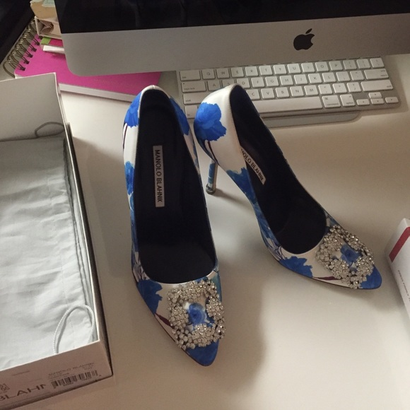 12fbb881ab7f2 Manolo Blahnik Shoes | Authentic Floral Hangisi Heels | Poshmark