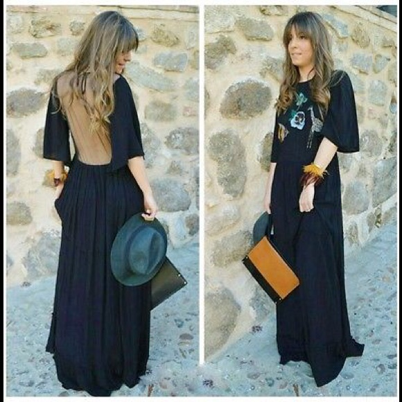 5624e6df2be Zara Black Long Maxi Embroidered Animal Dress