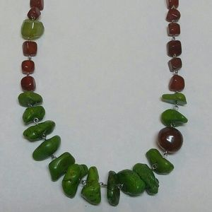 Genuine Turquoise carnelian chalcedony necklace