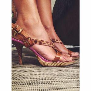 Multicolor heel sandals, size 8