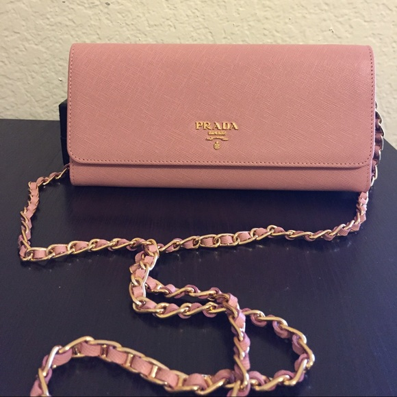 29cdfccf18be ... best authentic prada saffiano wallet on chain pale pink 37093 f6588