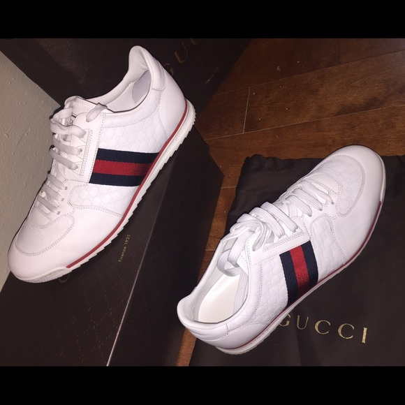 39becaced74 Nwt men s Gucci white leather monogram sneakers