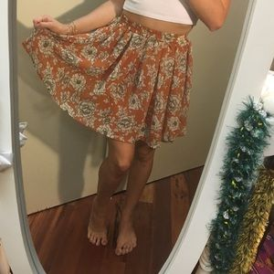 BRANDY MELVILLE orange floral skirt