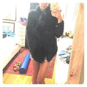 Zara Jackets & Blazers - Zara fuzzy soft jacket sweater navy