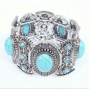 Jewelry - Boho , chic Turquoise and silver bracelet