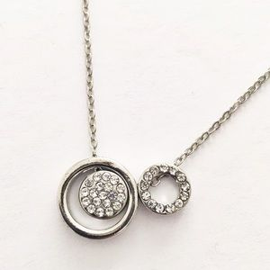 New York & Company silver pavé circles necklace