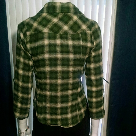 65 Off Bongo Tops Bongo Green Plaid S Junior Shirt