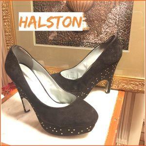 8.5- H BY HALSTON SUEDE DARK BROWN PLATFORM PUMPS