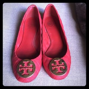 Tory Burch red quilted flats