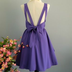 Dresses & Skirts - Purple backless cocktail bow dress