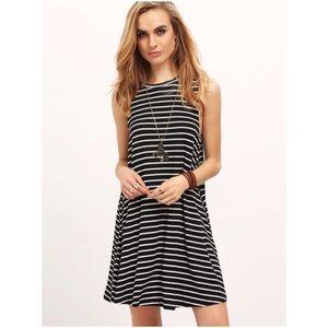 Black White Striped T-Shirt Swing Shift Dress