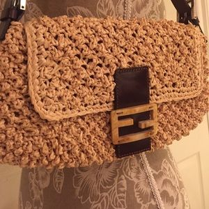 649a4e8454c8 Fendi Bags - Straw Fendi baguette shoulder bag