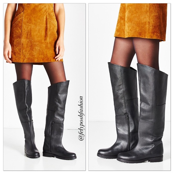 7def953a3e0e Urban Outfitters Sally Leather Over The Knee Boots