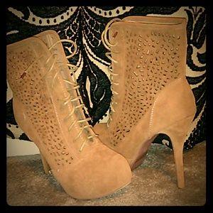 Tan tie up heel boots
