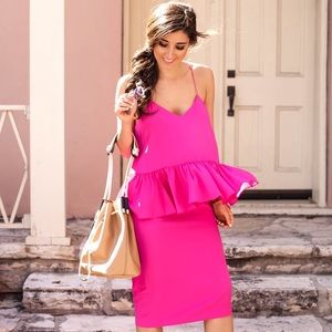 1.State Dresses - 1.State Pink Midi Ruffle Dress