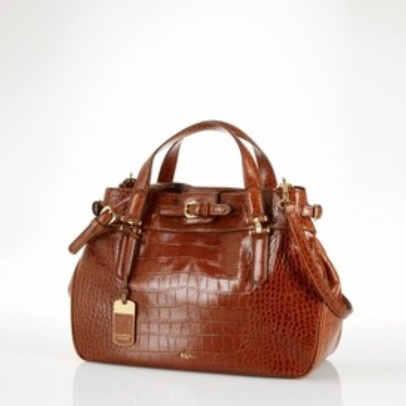 2ca202f164 Ralph Lauren Embossed Croc Leather Satchel. M 57d81f8656b2d632d90041b6