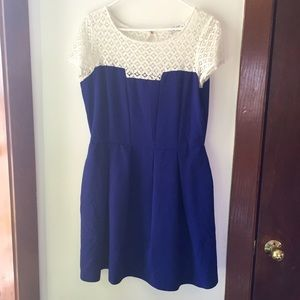 Deep Blue and White Lace Fit and Flair dress.