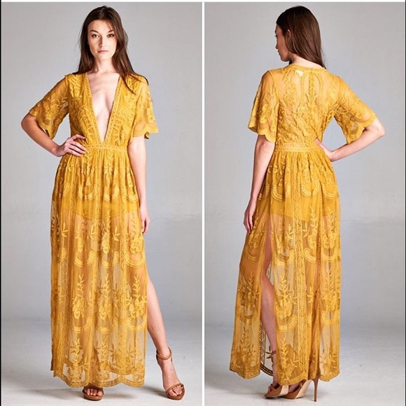 309b606a085e Yellow Lace Maxi Romper