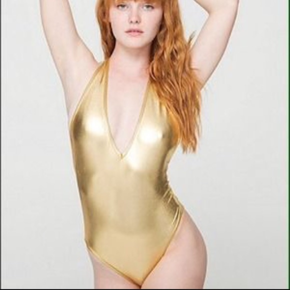 American Apparel gold lame halter bodysuit a36fff079