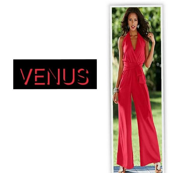 4e5abe94e725 RED HALTER PALAZZO JUMPSUIT BY VENUS. M 57d83c53522b45f49f007057