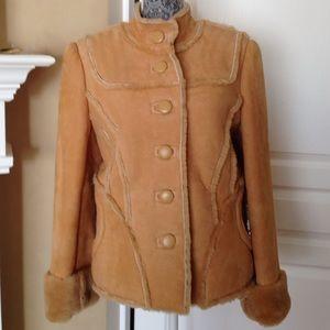 Genuine leather shearling jacket