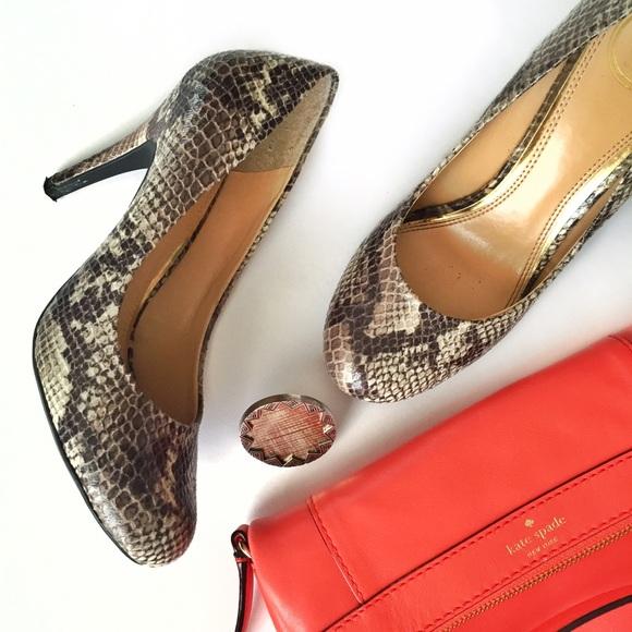 Jessica Simpson snakeskin print round toe heels