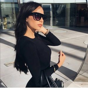 ba44987e5f Accessories - Lea Flat Top Black Oversized Sunglasses