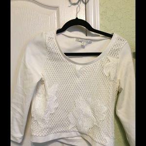 LC Lauren Conrad White Lace (Semi) Crop Sweater FS