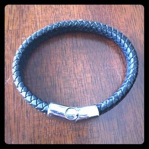Leather men's braided bracelet with silver clasp