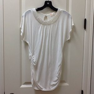 Tovia Maternity Tops - White Top w/ Beading