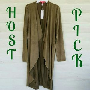 Sweaters - 🎉HP🎉 Olive Suede Cardigan