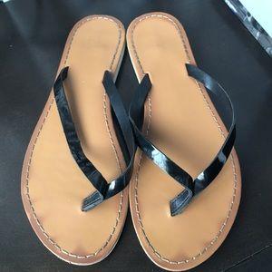 Merona target black patent sandals flip flops