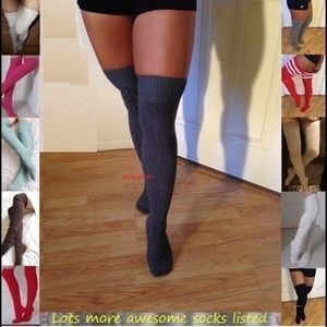 HUE Accessories - Cable Knit Over The Knee Socks Thigh High Boot OTK