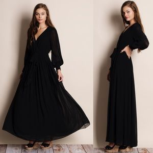 Chiffon Balloon Sleeve Maxi Dress