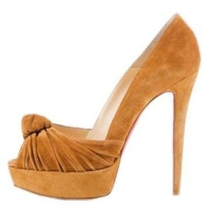 $1295 CHRISTIAN LOUBOUTIN GREISSIMO SUEDE CAMEL 38