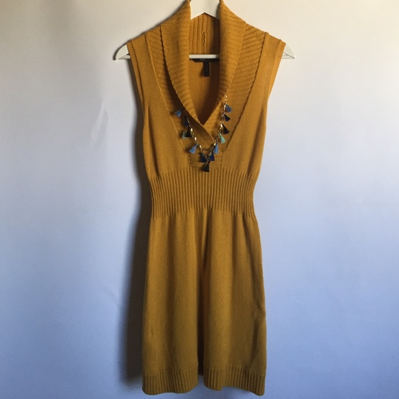 BCBGMaxAzria Dresses & Skirts - BCBG Max Azria mustard yellow cowl sweater dress S