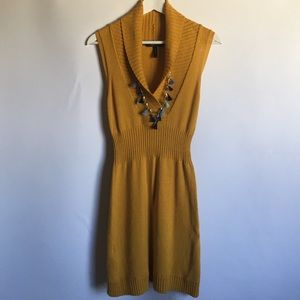 BCBG Max Azria mustard yellow cowl sweater dress S