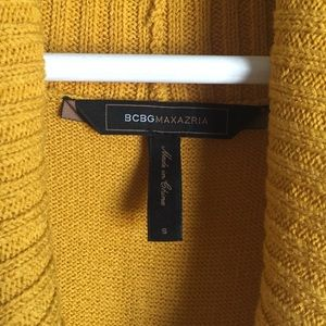 BCBGMaxAzria Dresses - BCBG Max Azria mustard yellow cowl sweater dress S