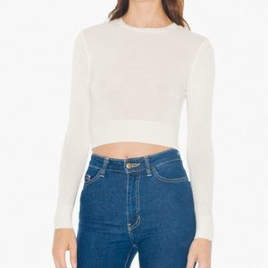 American Apparel Tops - American Apparel Cream Crop Knit Fitted Sweater